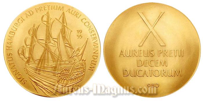 Signatus Hamburgi Ad Pretium Auri Conservandum 1955 X Aureus